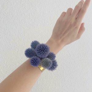 Echinops cuff corsage