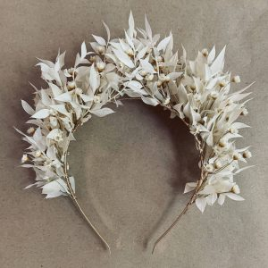 Bleached Ruscus & Star Flowers Floral Headpiece