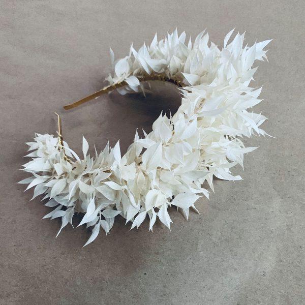White Ruscus Large Headpiece